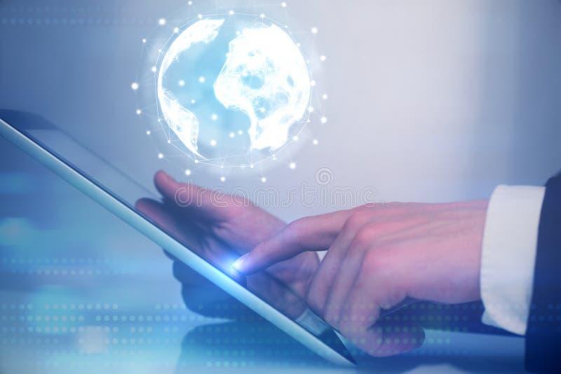 全球网络接口和数字式片剂 免版税库存图片