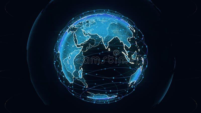全球网络网络连接回报卫星starlink的世界摘要3D 卫星创造oneweb或 库存例证