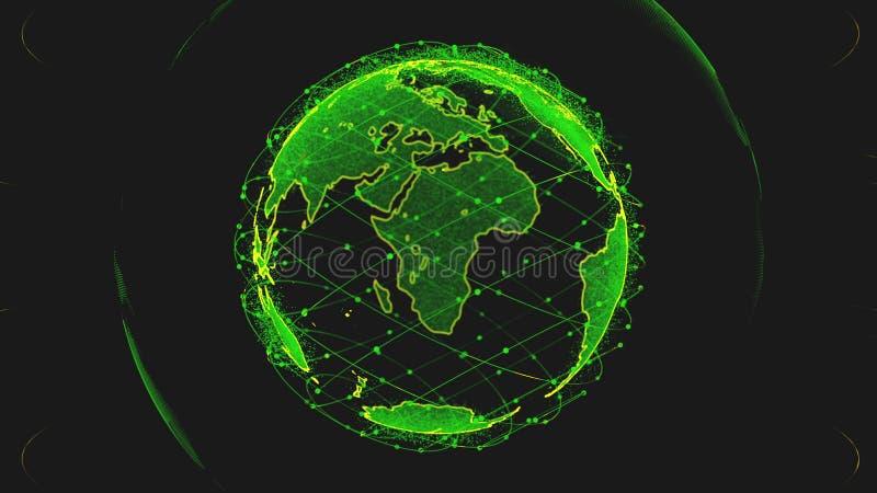 全球网络网络连接回报卫星starlink的世界摘要3D 卫星创造oneweb或 向量例证