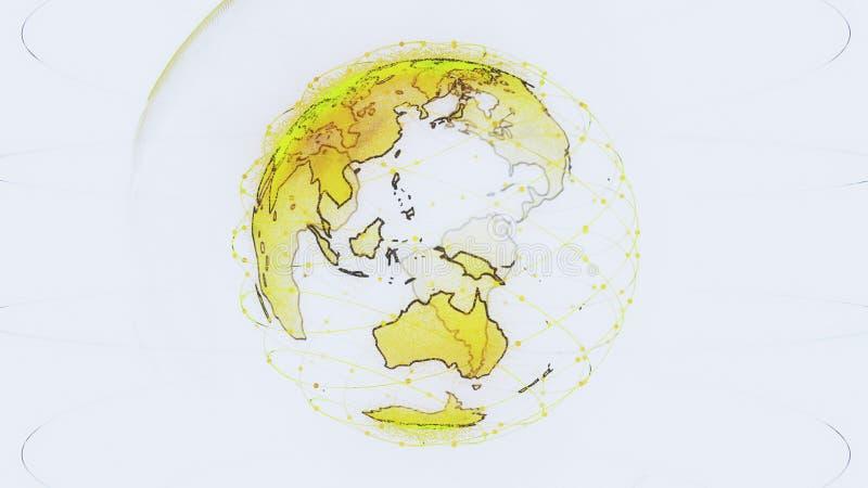 全球网络网络连接回报卫星starlink的世界摘要3D 卫星创造oneweb或 皇族释放例证