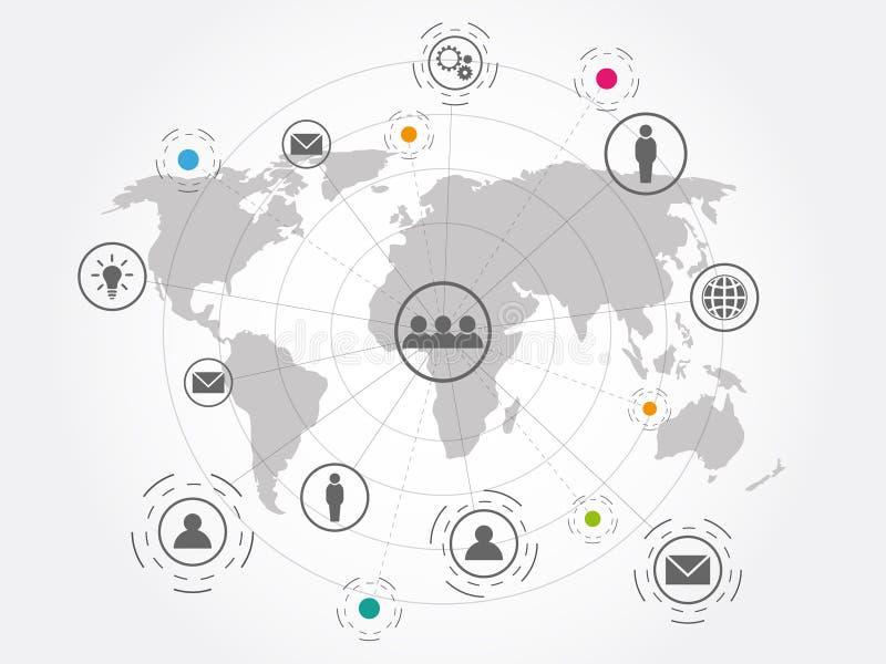 全球网络连接技术背景 向量例证
