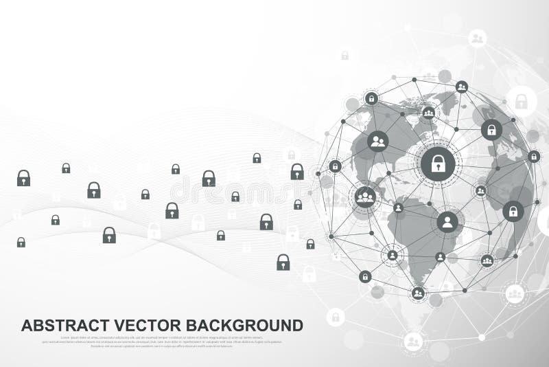 全球网络连接背景 网络安全概念全球企业 互联网通信背景 向量例证