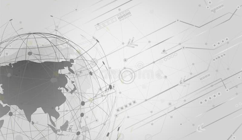 全球网络连接自动化支持与Wireframe的协助和网络设计概念 库存例证