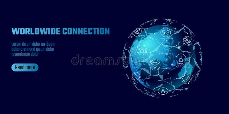 全球网络连接 世界地图亚洲大陆点线全世界信息技术dat兑换业务 皇族释放例证