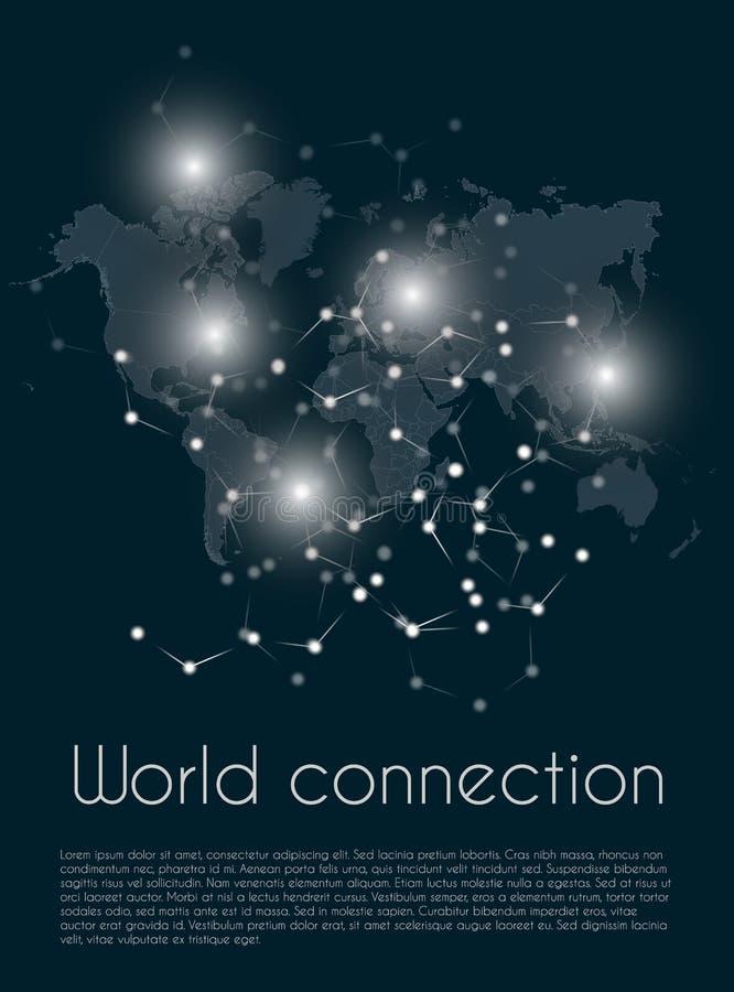 全球网络连接 世界地图点和线全球企业的构成概念 也corel凹道例证向量 皇族释放例证