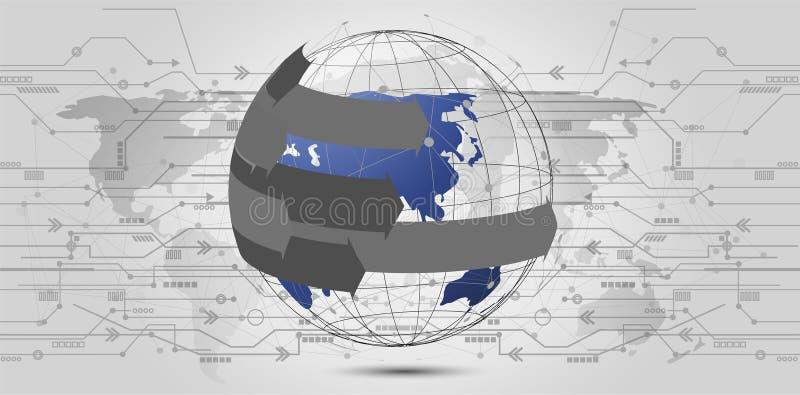 全球网络连接 世界地图点和线构成 向量例证