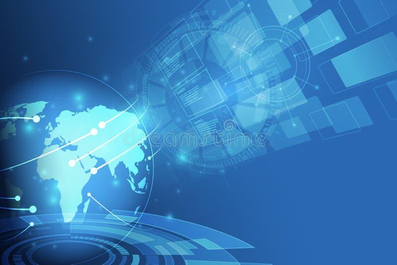 全球网络连接 世界地图点和线构成 皇族释放例证