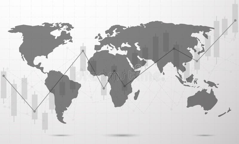 全球网络连接 世界地图点和线 库存例证