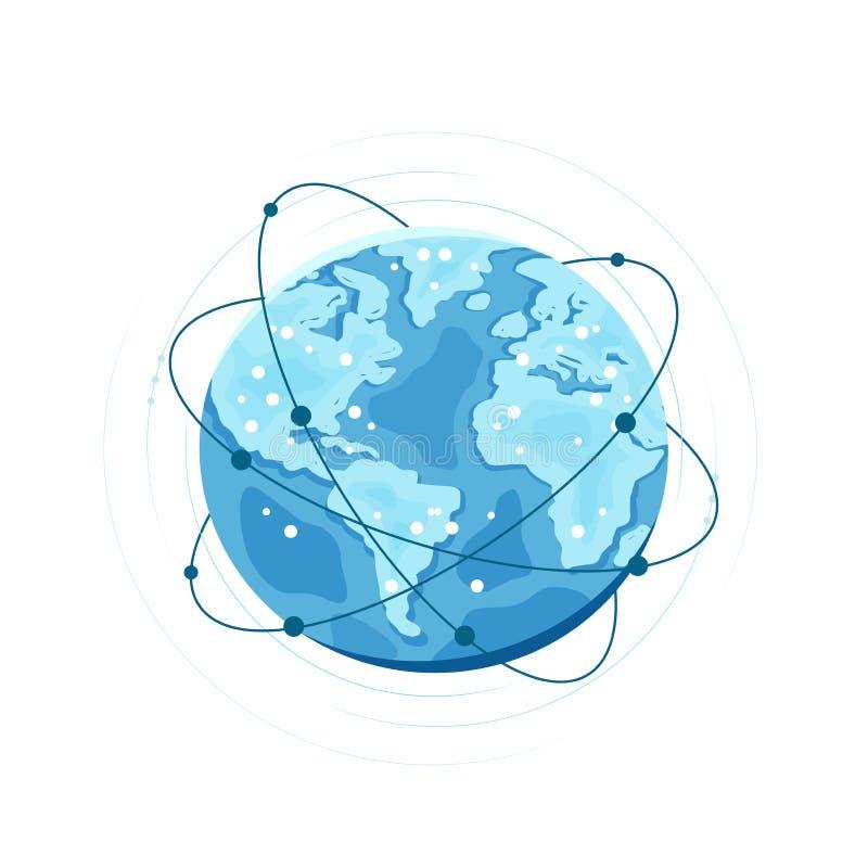全球网络连接 数字世界,技术传染媒介例证 向量例证