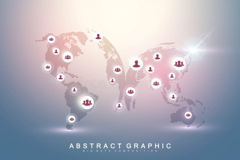 全球网络连接 社会媒介网络和营销概念在世界地图背景 全球企业和 皇族释放例证