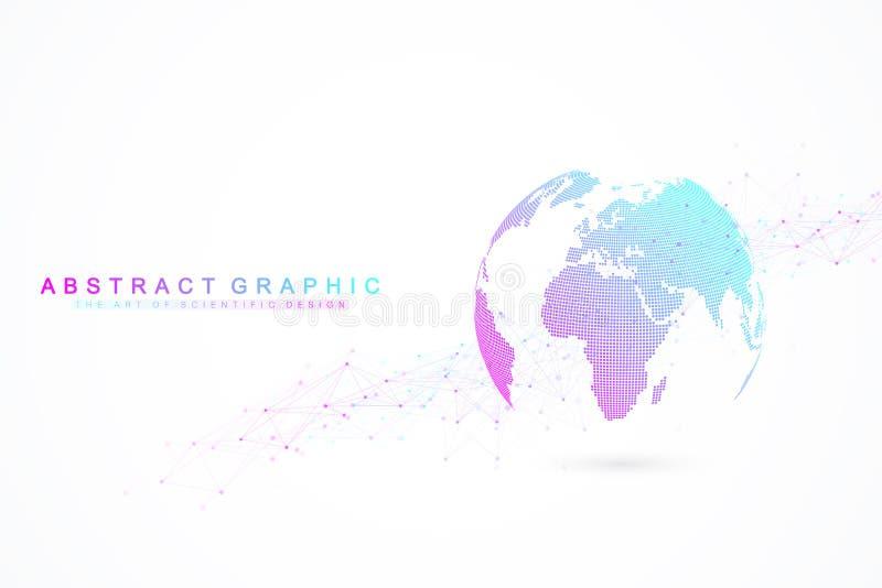 全球网络连接 网络和大数据交换在空间的行星地球 全球的商业 向量 库存例证