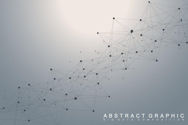 全球网络连接 网络和大数据形象化背景 全球的商业 也corel凹道例证向量 库存例证