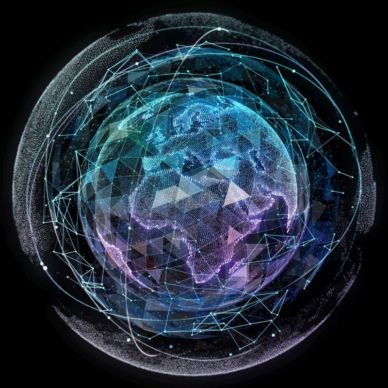 全球网络互联网技术 数字式世界地图. 网络, 卫星. id.