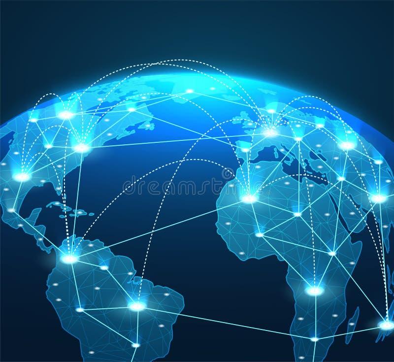 全球网络连接、线和通信的互联网概念 皇族释放例证