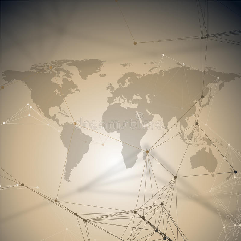 全球网络连接,几何设计,技术数字式概念 与连接的抽象未来派背景 库存例证