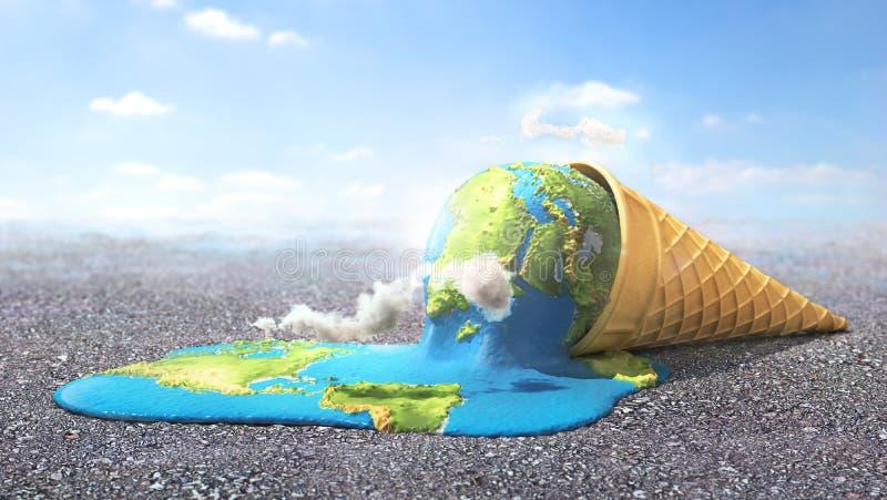 全球警告 作为熔化的冰淇凌的行星在热的太阳下 库存例证