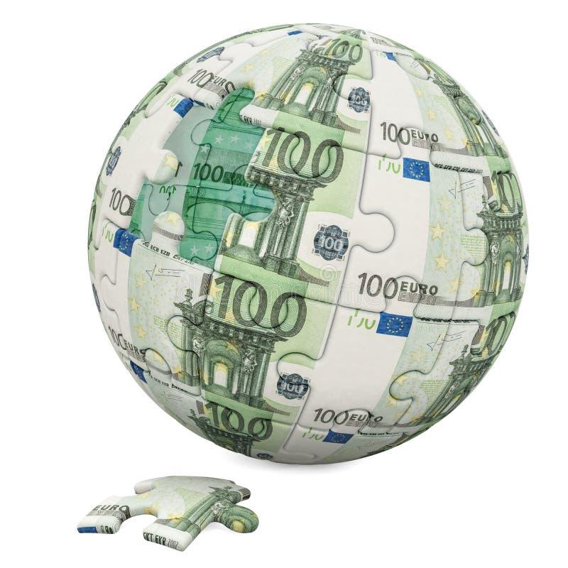 全球财务概念 从难题片断的欧洲地球 3d回报 皇族释放例证