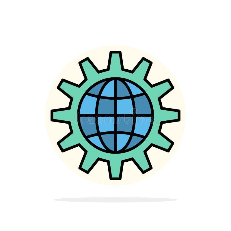 全球,商业,开发,开发,齿轮,工作,世界抽象圆背景平面颜色图标 皇族释放例证