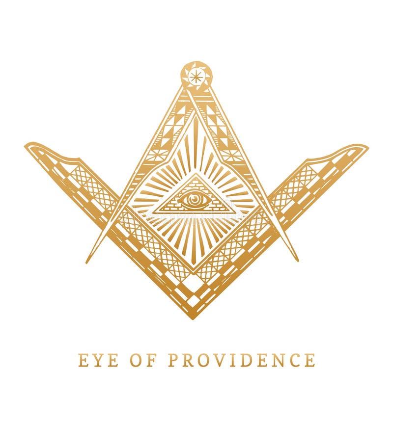 全看见上帝的眼睛 共济会的正方形和指南针标志 同病相怜金字塔板刻商标,象征 免版税库存图片