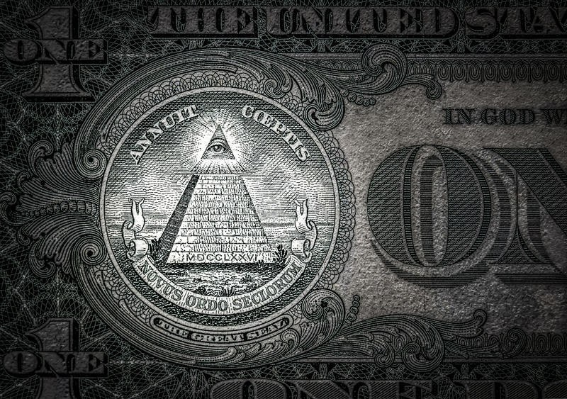 全看见在这一美元的眼睛 新的命令世界 精华字符 1美元 免版税图库摄影