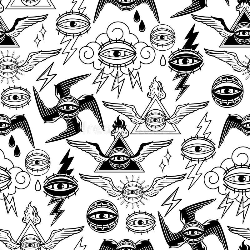 全看见的眼睛的图表收藏 库存例证