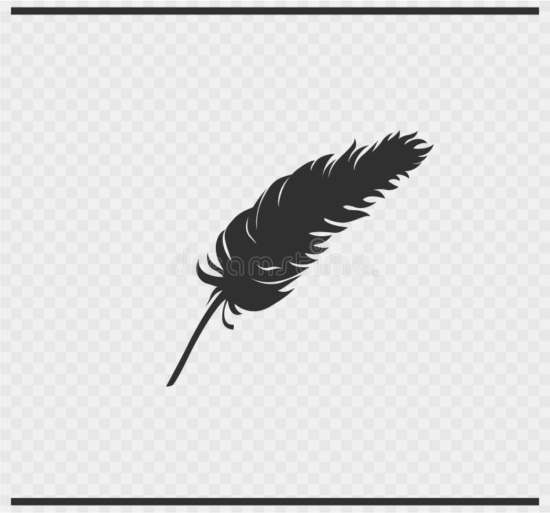 全身羽毛象在透明的黑色颜色 向量例证