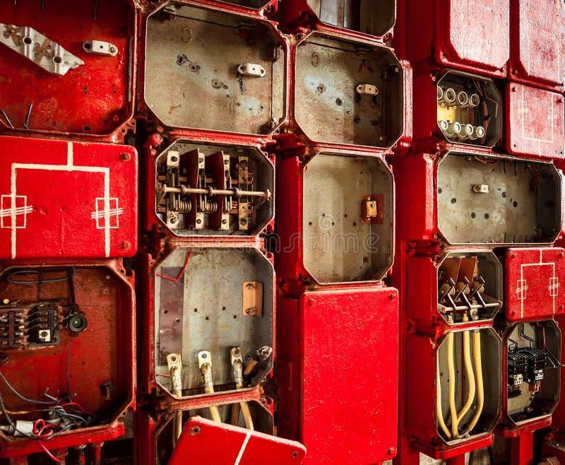 全部在墙壁上的接线盒 库存图片