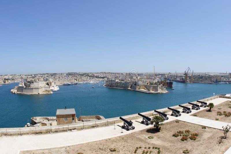 全部港口马耳他全景瓦莱塔视图 免版税库存图片