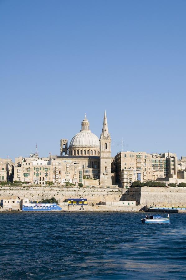 全部港口马耳他瓦莱塔视图江边 免版税库存照片