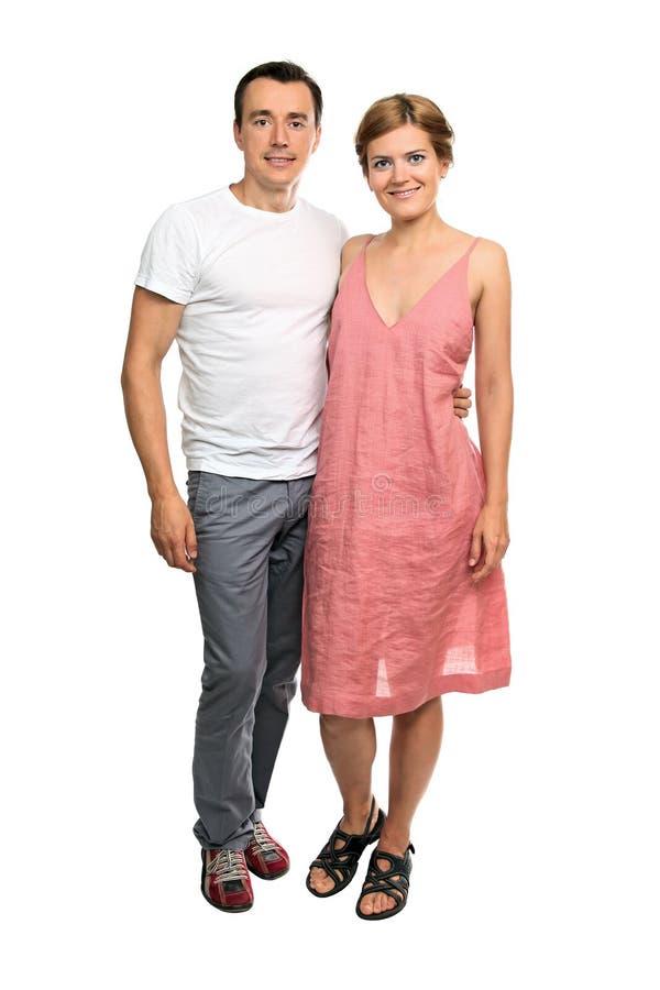 全长一对有吸引力的新夫妇 免版税库存照片
