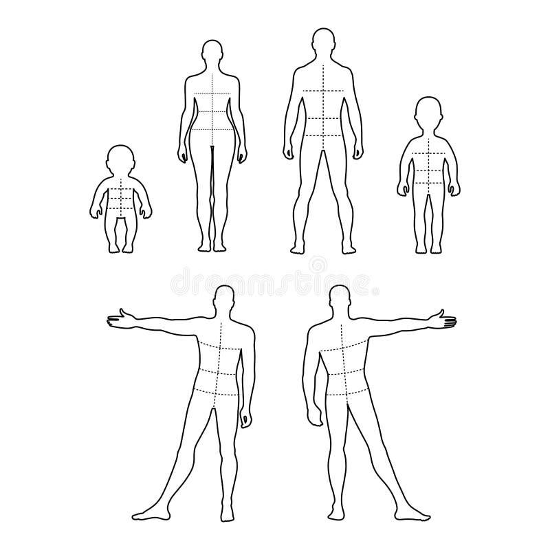 全长前面,后面被概述的人的剪影集合 库存例证