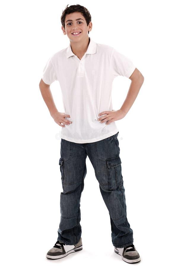 全长时髦的少年年轻人 免版税库存图片