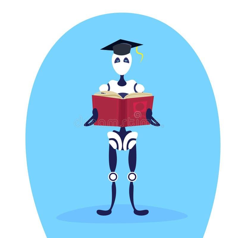 全长现代机器人毕业盖帽藏品书人工智能教育概念的卡通人物平展 库存例证