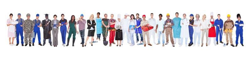 全长用不同的职业的人 免版税库存图片