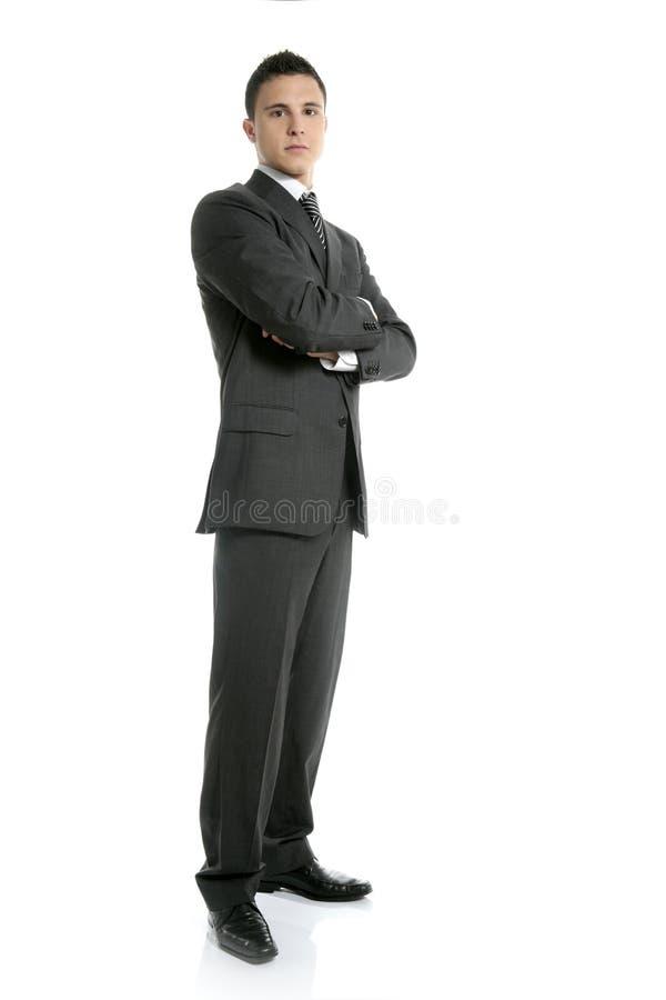 全长的生意人突出空白年轻人 免版税库存照片