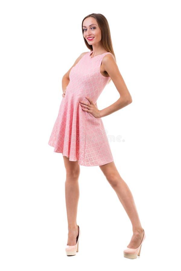 全长短的礼服的肉欲的妇女 免版税库存图片