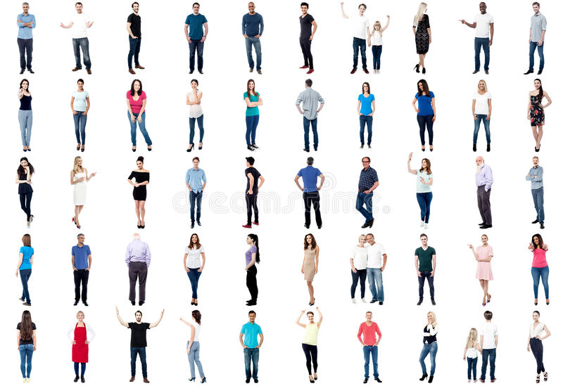 全长被多样化的人民的汇集 库存图片