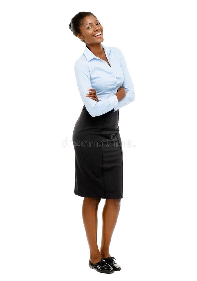全长非裔美国人的有吸引力的年轻女实业家丝毫 库存图片