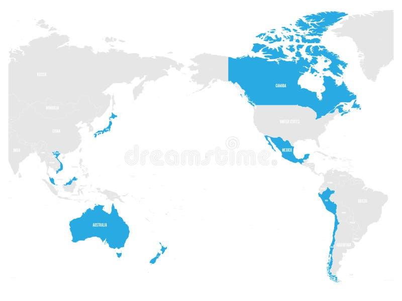 全面和进步协议地图横跨太平洋的合作、CPTPP或者TPP11的 蓝色被突出的成员 库存例证