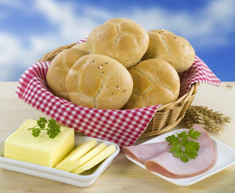 全麦的小圆面包 库存图片