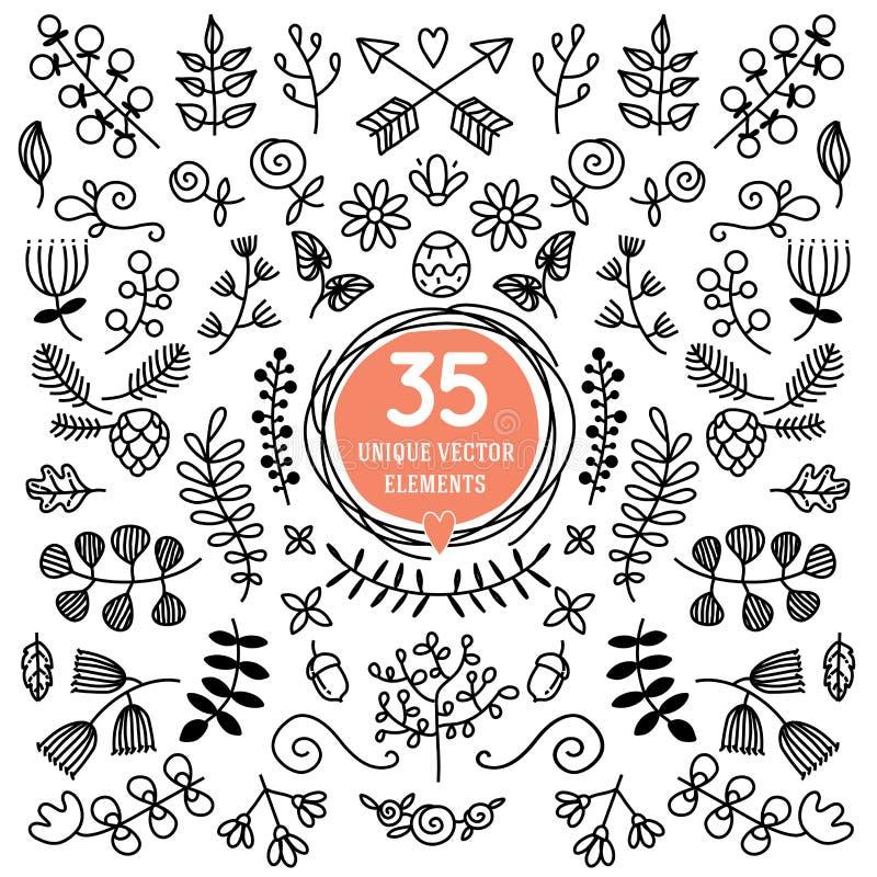 八个多才多艺的花圈 装饰的装饰品 向量例证