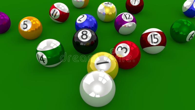 八个球水池比赛-在断裂射击以后驱散的球 库存例证