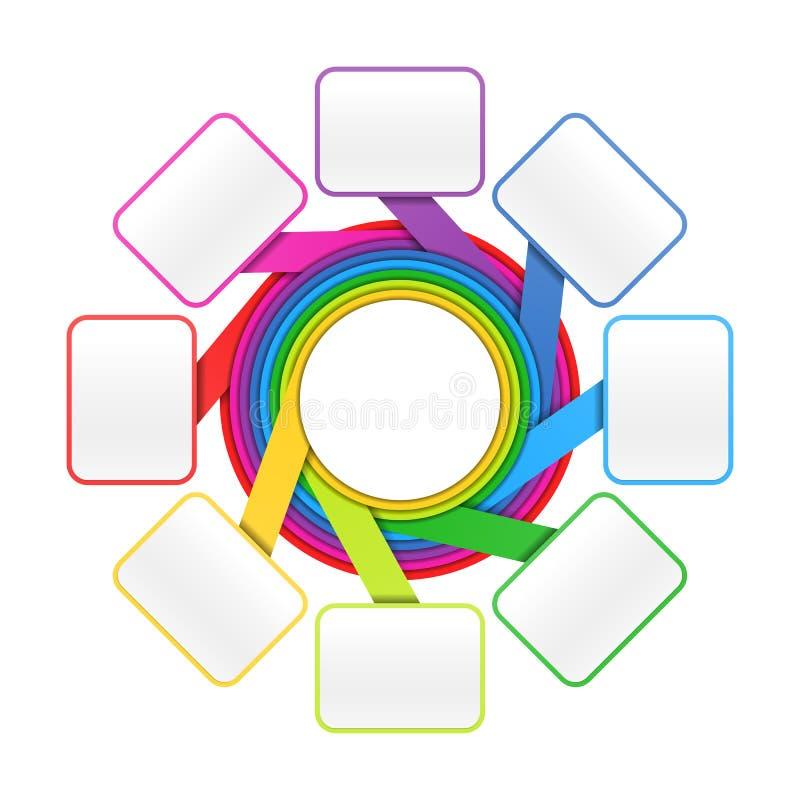 八个要素圈子设计模板 皇族释放例证