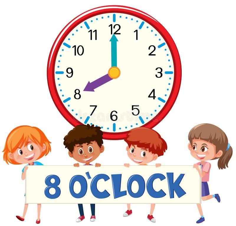 八个o有孩子的`时钟 库存例证