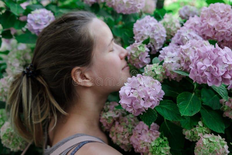 八仙花属背景的年轻微笑的妇女开花 免版税库存图片