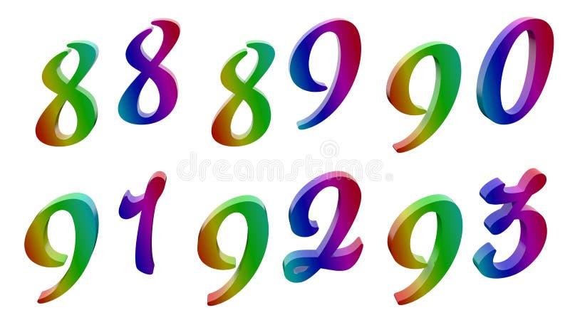 八十八,八十九,九十,九十一,九十二,九十三, 88, 89, 90, 91, 92, 93个书法3D回报了数字 皇族释放例证