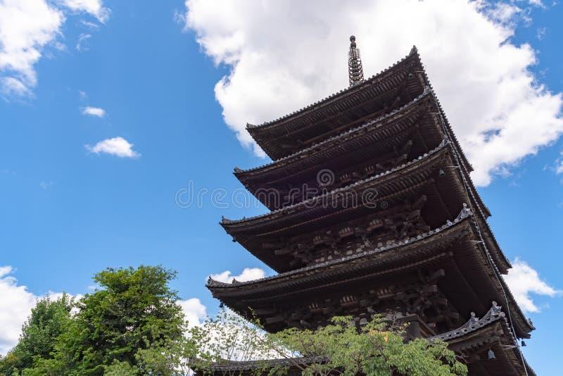 八坂dori地区看法与Hokanji寺庙八坂塔的 免版税库存图片
