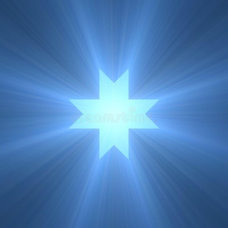 八指向的octagram星光火光 库存例证
