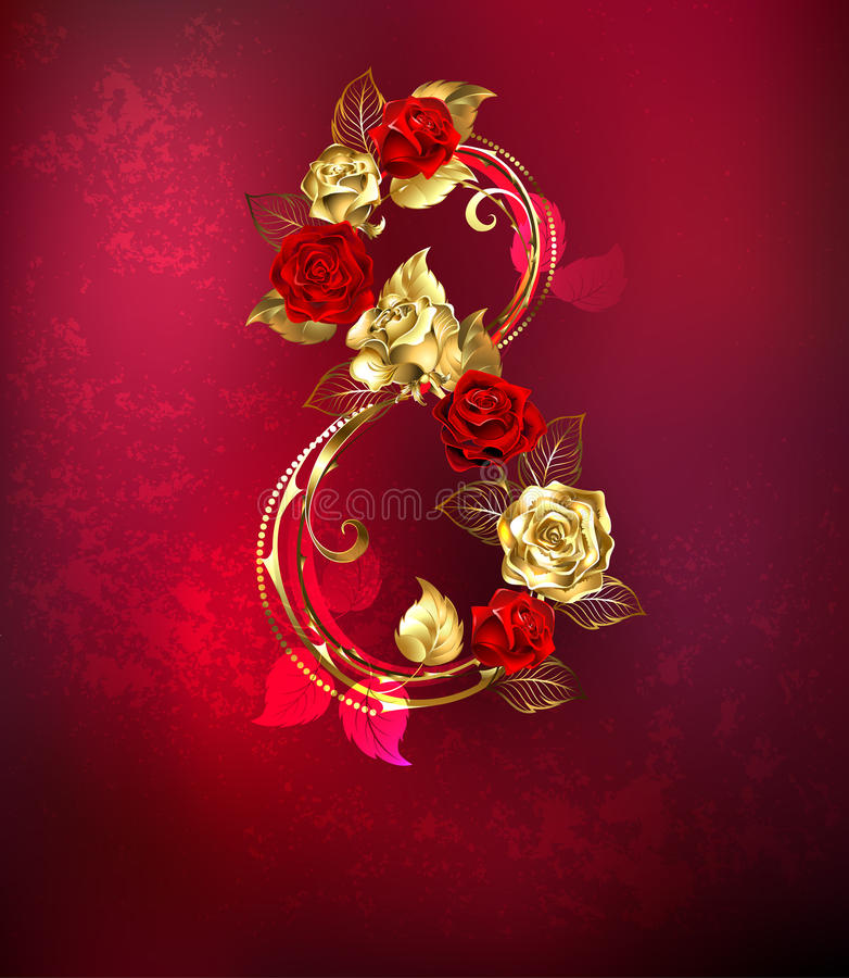 八玫瑰 皇族释放例证