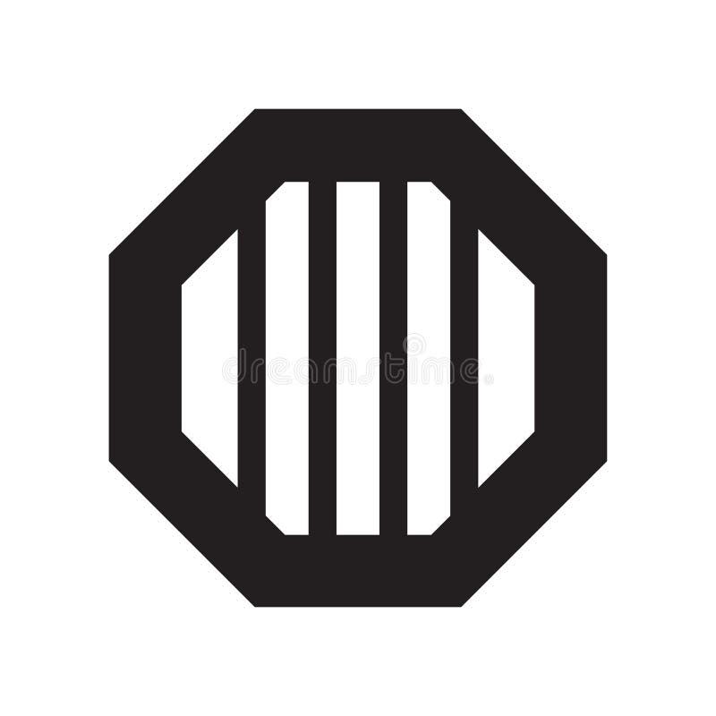 八角形物象在白色背景和标志隔绝的传染媒介标志,八角形物商标概念 向量例证
